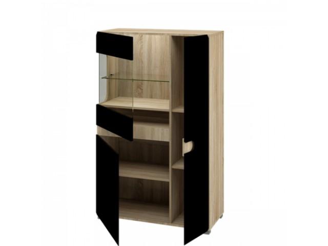Шкаф с витриной МН-026-03, мебельная система Леонардо чёрный